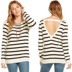 ✨ Chaser Striped Rib Sweater V-Back Pullover ✨